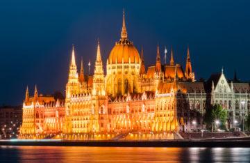 Hungarian Parliament, twilight view, Budapest. Orszaghaz.